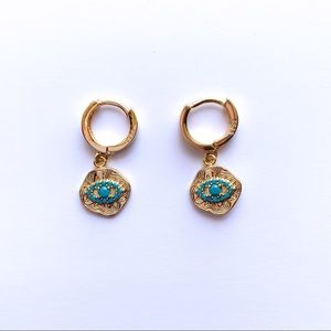 Jewelry - GOLD EVIL EYE EARRINGS GOLD MINI HOOP EARRINGS
